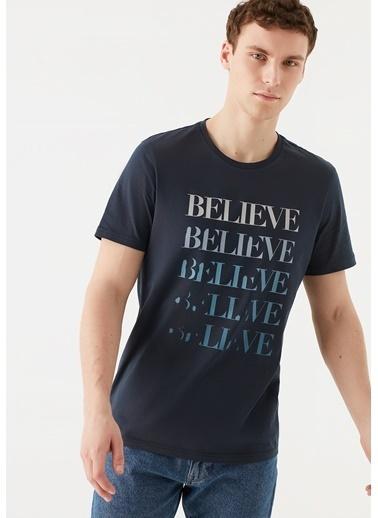 Mavi Believe Baskılı  Tişört Lacivert